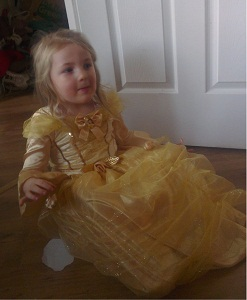 H in her Belle dress