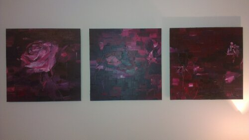 Roses and Thistles, a triptych by Leila Neal